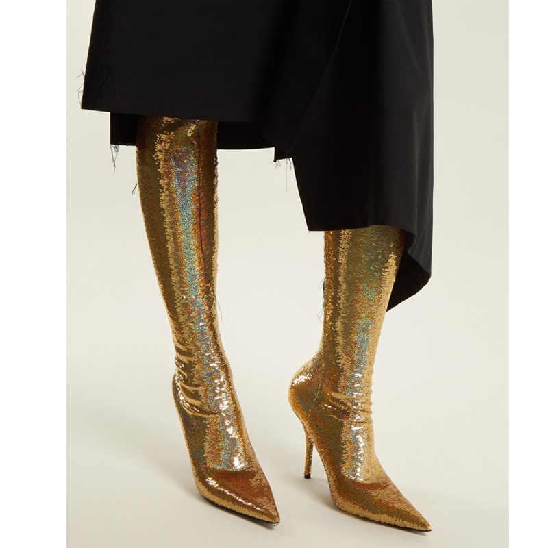Altın Bling Payetli Elastik Çorap Uzun Çizmeler Kadın Seksi Stiletto Yüksek Topuklu Sivri Burun parti ayakkabıları kadınlar için Uyluk Yüksek Çizmeler