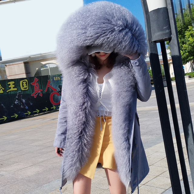 Mongolia Sheep Fur Hooded Coat
