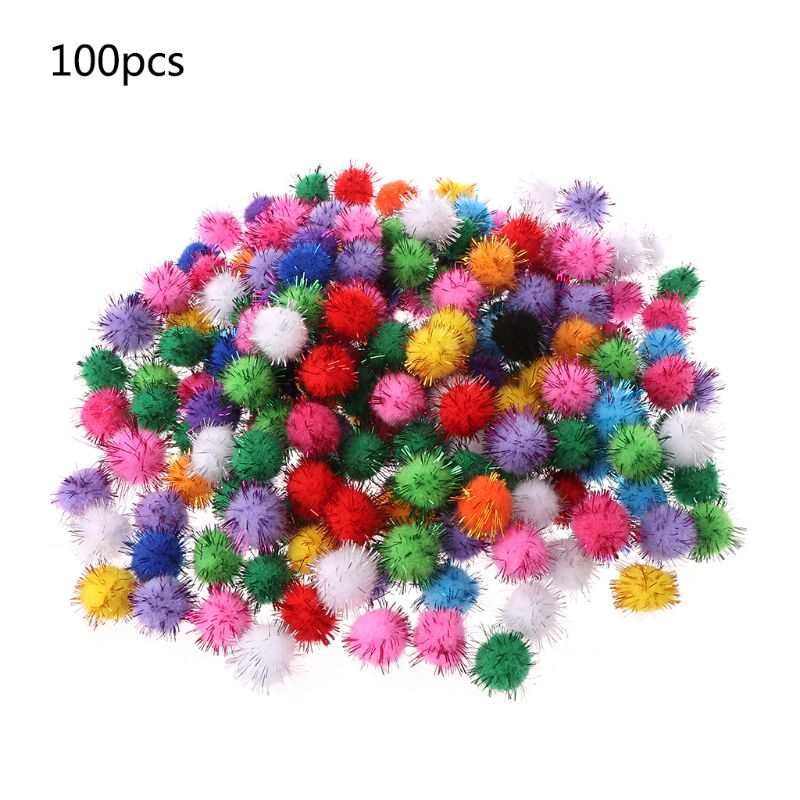 100Pcs 20mm Mini Fluffy Soft Pom Poms Pompoms Glitter Ball Handmade Kids Toys DIY Sewing Craft Supplies Mixed Color