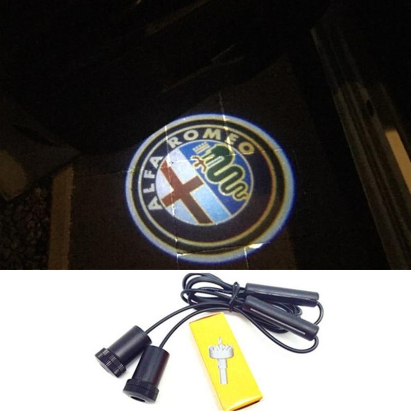 2x For Alfa Romeo 159 147 159 156 164 166 4C 8C Brera Giulietta GT Mito Spider Sportwagon Led Car Door Light Logo Projector kit alfa mito