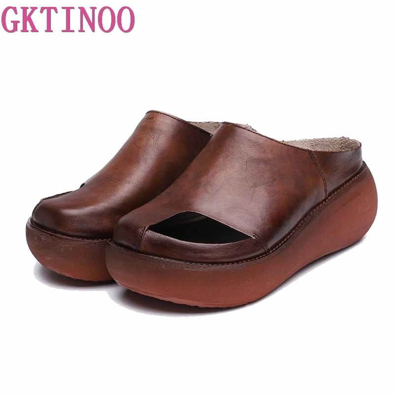 GKTINOO Genuine Leather Women Sandals Handmade Platform Wedges Cowhide High Heel Summer Shoes Round Toes Comfotable