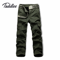 Taddlee Brand Europe Size Men Military Multi Pocket Cargo Full Length Pants Slim Fit Man Straight Long Baggy Loose Trousers