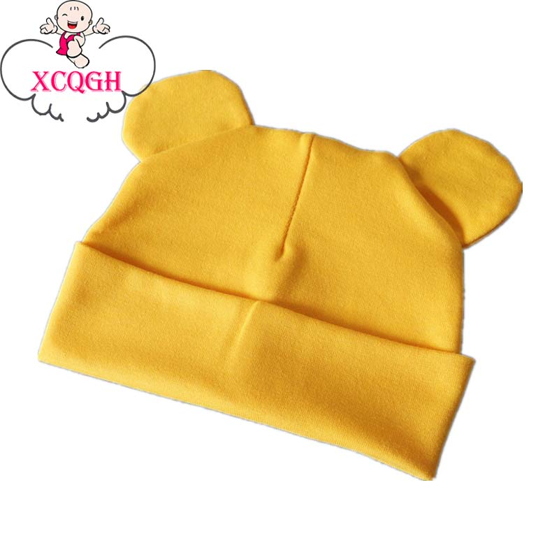 XCQGH Baby Beanie Hat Boy Girl Cotton Solid Color Hats With Ears Infant Toddler Beanies Caps Newborn Elastic Headwear Hat 9Color