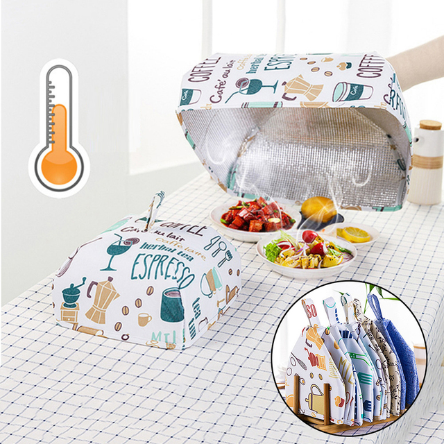 36*36*16cm Foldable Food Covers Keep Warm Hot Aluminum Foil Cover Dishes Insulation Utilidades Kitchen Table Accessories Tools