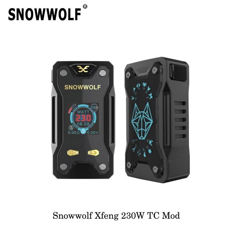 Nouveau Elektronik Sigara Origina Snowwolf Xfeng boîte Mod 230 W TC Vape Mod 510 fil pour E cigarette atomiseur Vaper réservoir