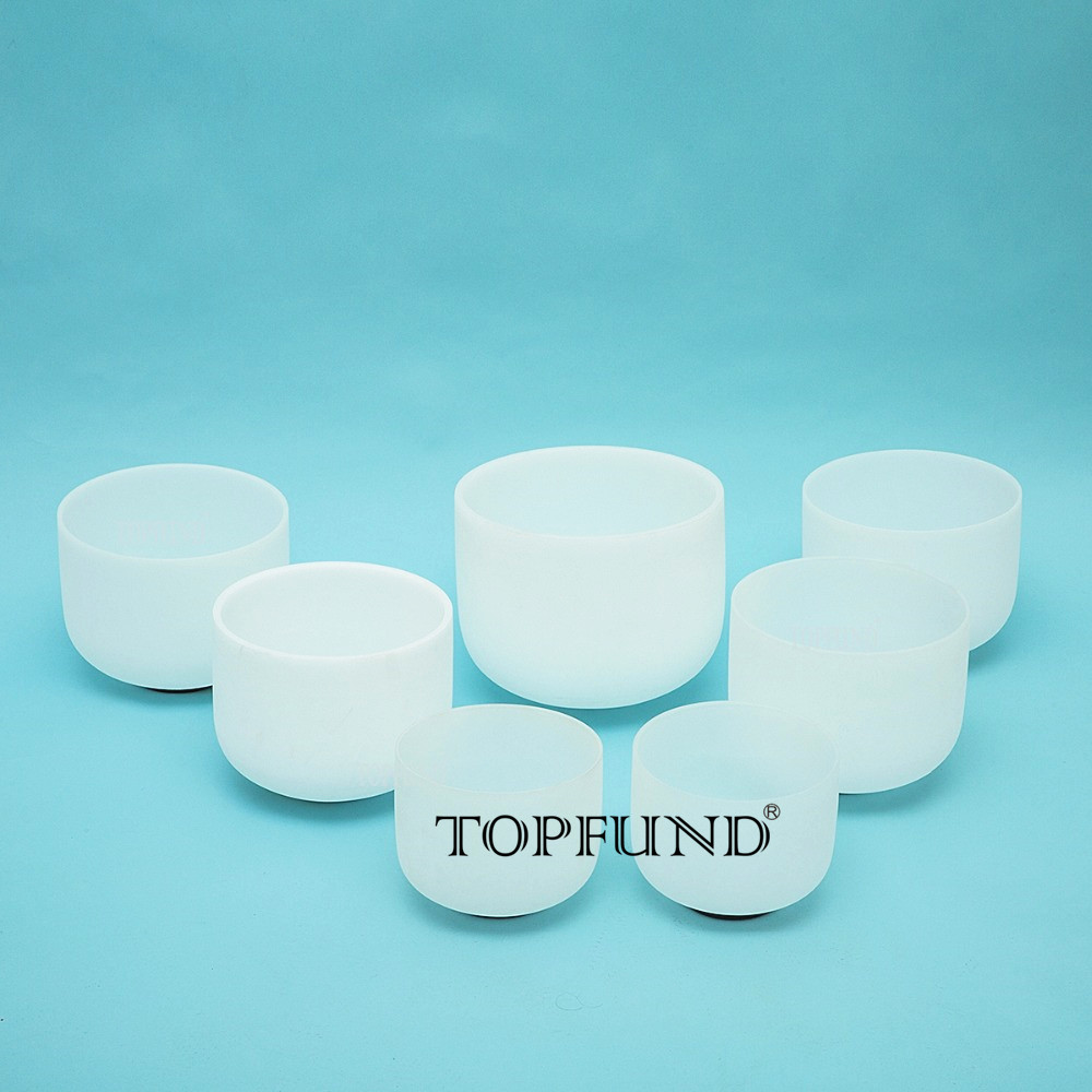 TOPFUND 432Hz/perfect pitch sintonizado conjunto Chakra de 7 piezas cristal de cuarzo helado cuencos, 8