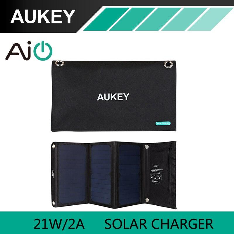 21 W AUKEY Chargeur Solaire avec Double Port USB Pliable, Portable Panneau Solaire pour iPhone 6 s 7 Plus, Android, Samsung, HTC, LG, Nexus