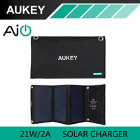 21W AUKEY Solar Charger With Dual USB Port Foldable Portable Solar Panel For IPhone 6s 6