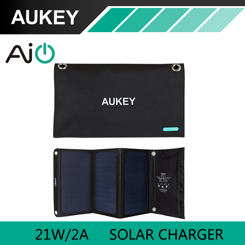 21W AUKEY Solar Charger with Dual USB Port Foldable Portable Solar Panel for iPhone 6s 7