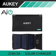 21 W Cargador Solar con Doble Puerto USB Plegable AUKEY, panel solar portátil para el iphone 6 s 7 más, Android, samsung, htc, lg, nexus