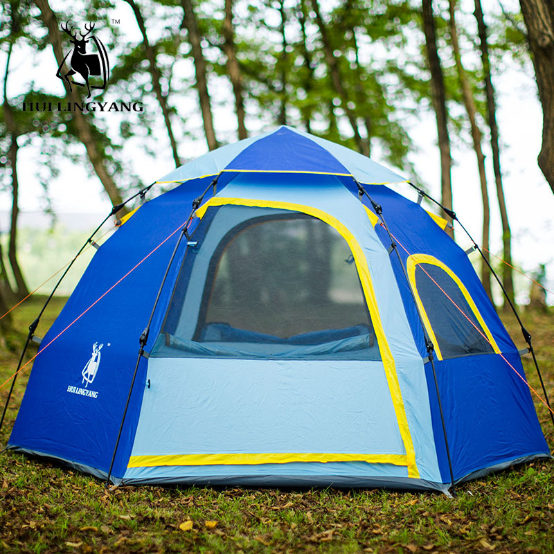 Outdoor camping hiking waterproof tent Hexagonal 3 4 person large capacity tents Automatic quick opening family