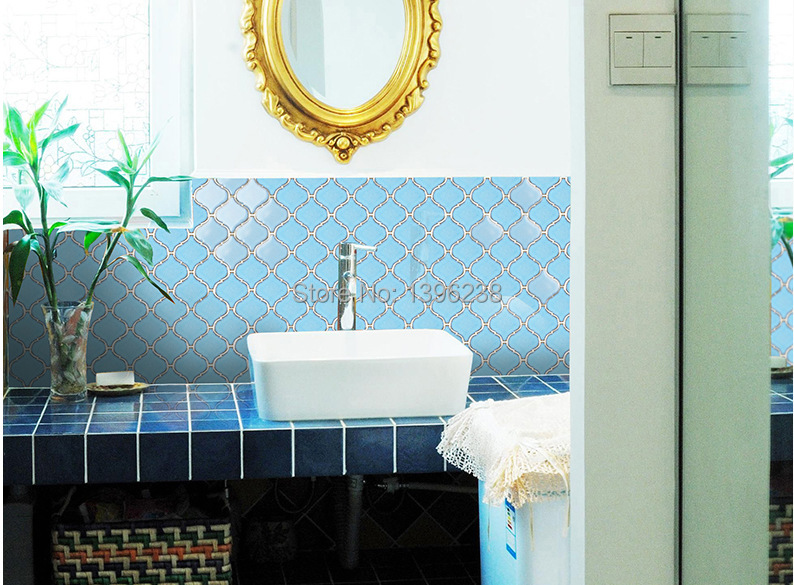 Polished Blue Ceramic Mosaic Kitchen Backsplash Wall Tiles,Bathroom Floor  Sky Blue Color Wallpaper Home Decor Art Sticker,LSDL09 In Wallpapers From  Home ...