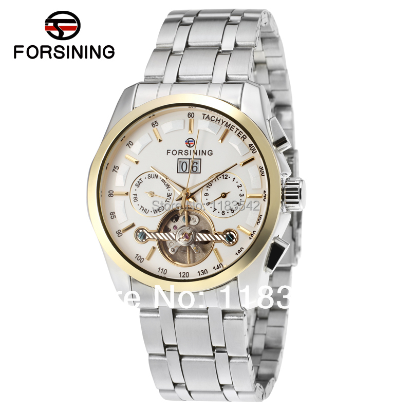 Forsining new Automatic men  fashion tourbillon with stainless steel band  watch free shipping forsining fsg6625m3r2 new automatic fashion dress men watch tourbillon rose gold wristwatch for men best gift free shipping