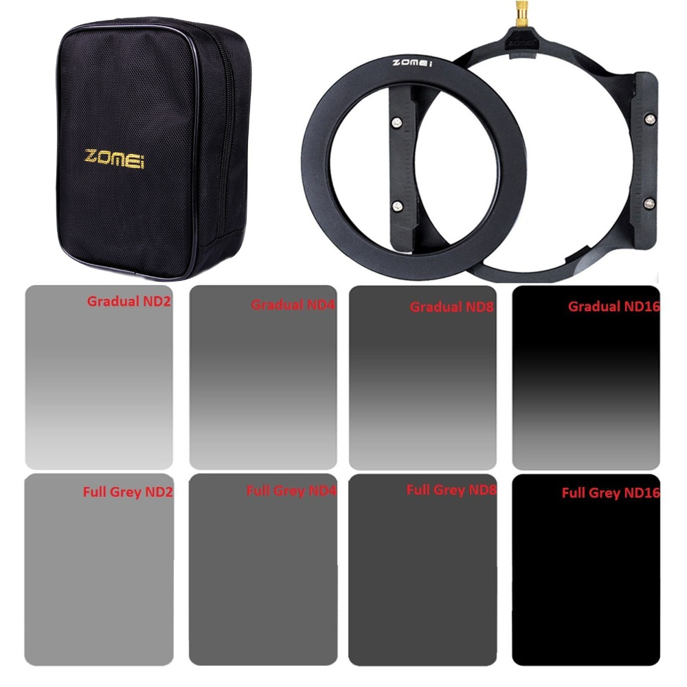 ZOMEI 150*100mm GND 2/4/8/16 &ND2/4/8/16 Filter Kit+Holder+adapter Ring+Bag For Cokin Z фильтр для объектива camilla nd2 4 8 16 1000 gnd
