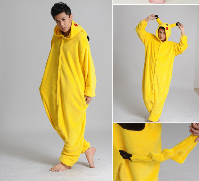 b3bbec8fdbad Pocket monster Pikachu Onesies Costume Halloween Women Men Adult Animal  Cosplay Pokemon Pajamas Pyjamas Flannel Sleepwear