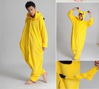 Pocket monster Pikachu Onesies Costume Halloween Women Men Adult Animal Cosplay Pokemon Pajamas Pyjamas Flannel Sleepwear