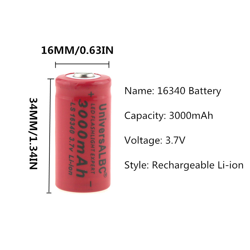 Image 5 - 3000mAh Rechargeable 3.7V Li ion 16340 Batteries CR123A Battery For LED Flashlight Travel Wall Charger For 16340 CR123A Battery-in Rechargeable Batteries from Consumer Electronics