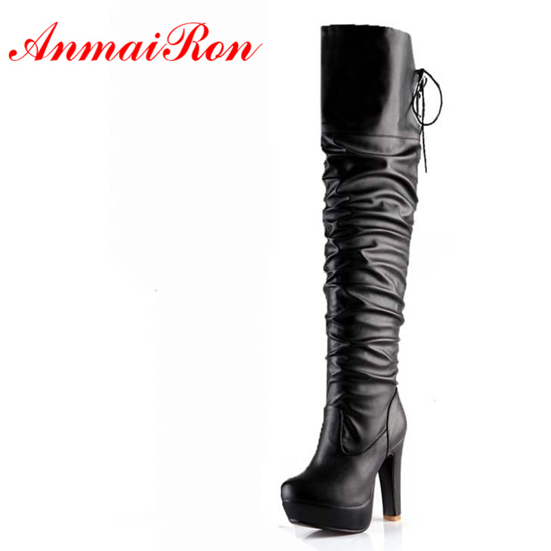 ANMAIRON  Women Boots High Heel Platform Long Shoes Knight Boots Sexy Lace Up Over The Knee High Winter Boots 3 Colors black motorcycle accessories radiator guard protector grille grill cover for kawasaki gtr 1400 gtr1400 2012 2013 2014