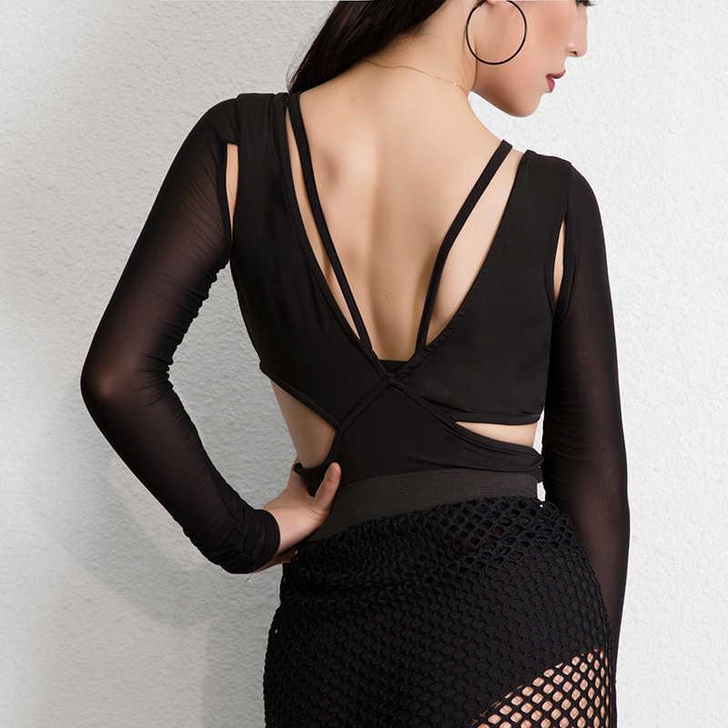 0d4544d223 2019 New Latin Dance Tops Women Lady Modern Sexy Net Yarn Splice Leotard  Female Ballroom Cha