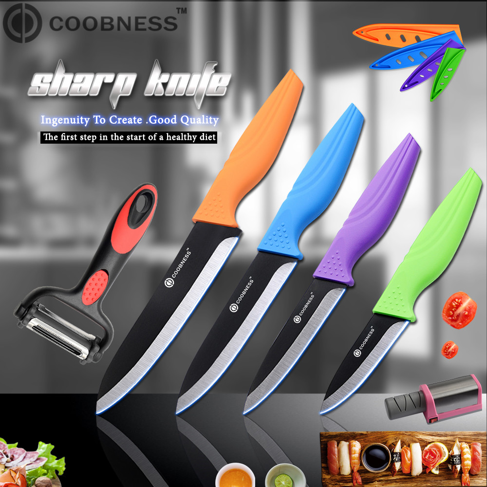 COOBNESS haute qualité lame noire couteau en céramique 6 pièces ensemble 3
