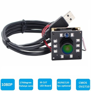ELP High Speed 2MP CMOS OV2710 Module  Wide View Angle Fisheye UVC Android Linux IR Led Board Night Vision HD USB Camera 1080P
