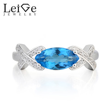 Leige Jewelry Engagement Ring Swiss Blue Topaz Ring Marquise Cut Blue Gemstone November Birthstone 925 Sterling Silver Ring