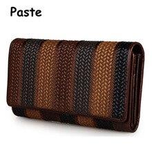 Natürliche Echte Leder Geldbörsen Marke Vintage Lange Taschen Geldbörse Visitenkartenhalter Weben Brieftasche Tasche 2017 Neue