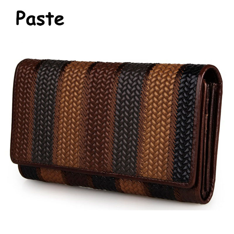 Natural Genuine Leather Wallets Women Clutch Bags Wallet Cowhide Coin Purse Business Card Holder Weaving Wallets Bag 2018 New simline vintage genuine cow leather cowhide mens men long double zipper wallet purse wallets card holder clutch bag bags for man