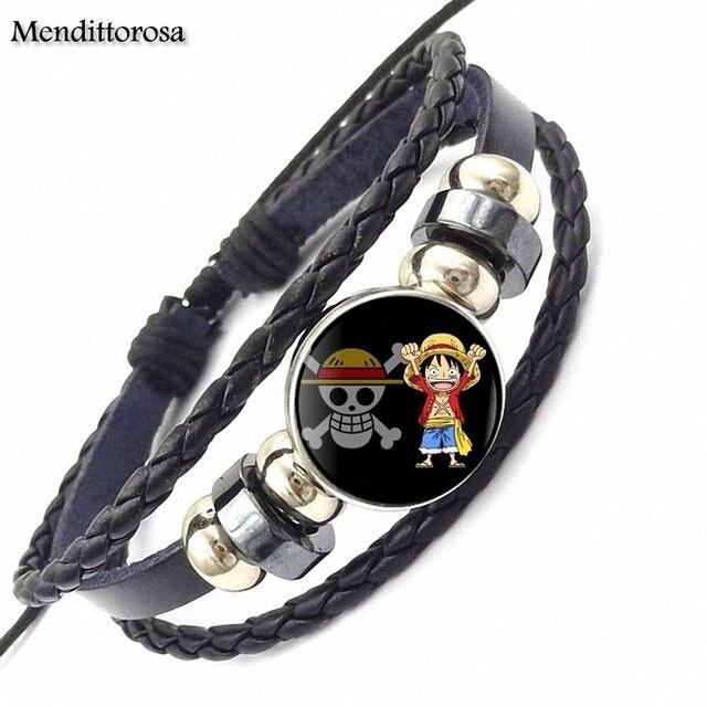 One Piece Monkey D Luffy Glass Leather Bracelet Bangle