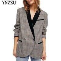 YNZZU England Style Plaid Women Blazer 2018 Autumn Vintage Long Sleeve Velvet Patchwork Chic Loose Blazer Coat Streetwear YO624