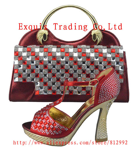 2017 High Quality Nigeria Wine Color Wedding Shoes Italian And Bags Set To Match