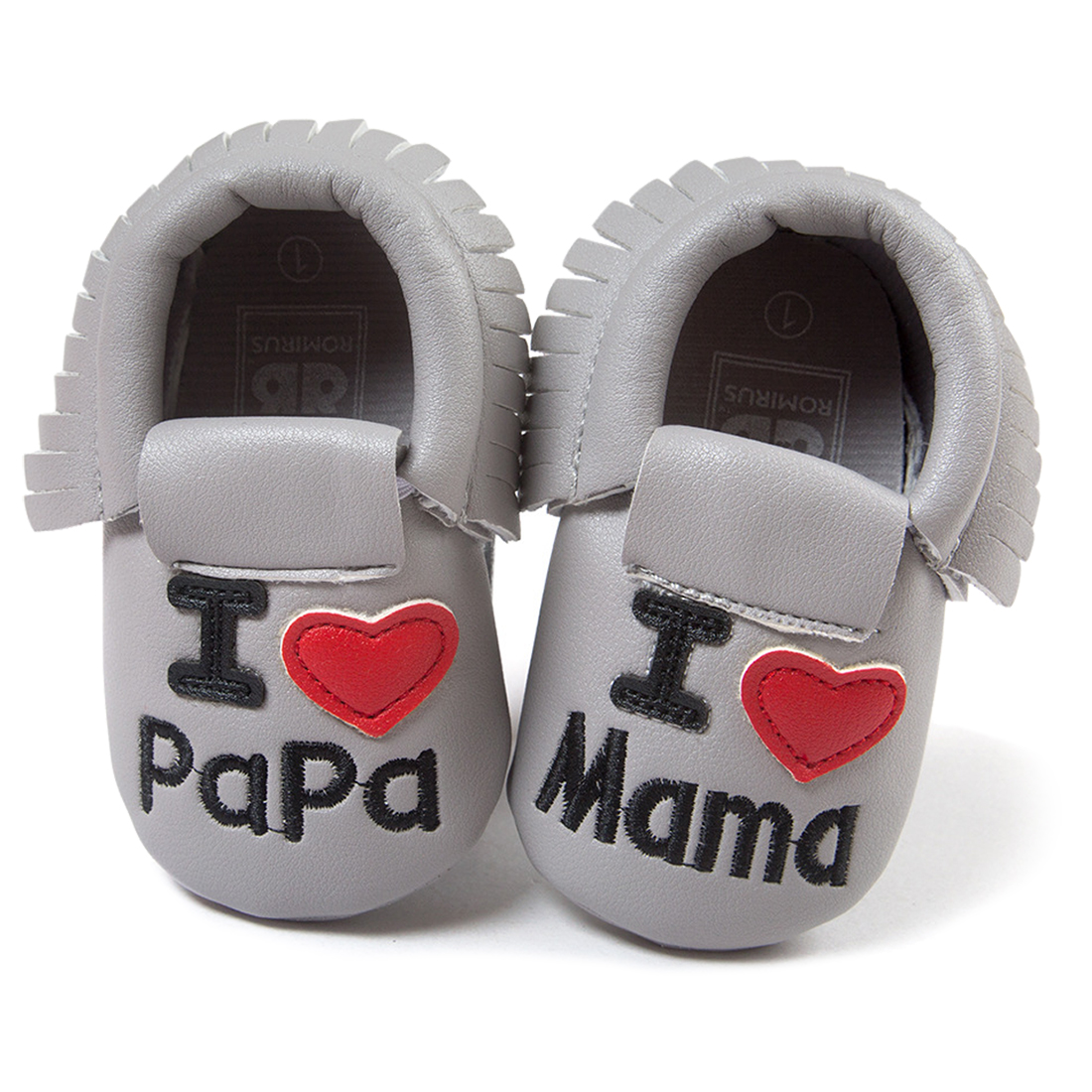 ROMIRUS Fashion Moustaches Tassel Baby Moccasins i Love Papa Mama Baby First Walkers Baby Shoes PU Leather Prewalkers Grey