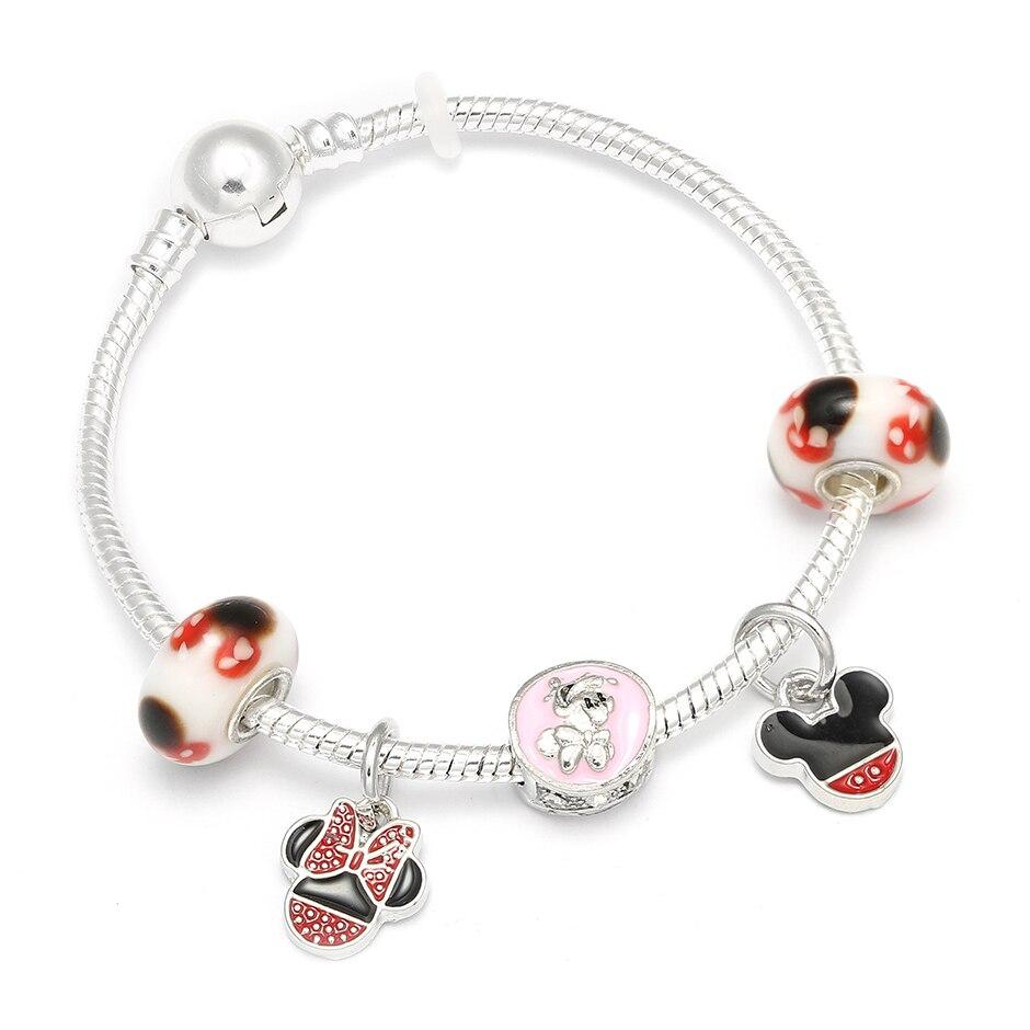 Mickey Mouse Charm Bracelet: European Style Cartoon Mickey Mouse Charm Bracelets