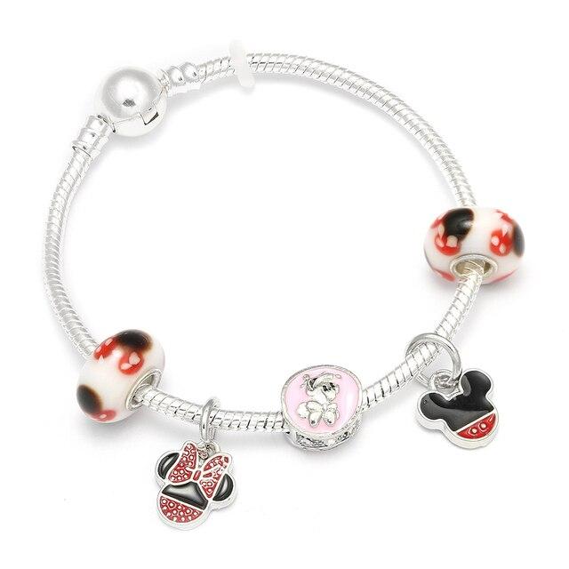 ba8854a43 HOMOD 2018 New Cartoon Mickey Mouse Charm Bracelets & Bangle Fashion  Original DIY Red Minnie Pandora