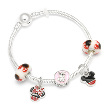 HOMOD 2019 New Cartoon Mickey Mouse Charm Bracelets & Bangle Fashion Original DIY Red Minnie Brand Bracelet For Women Jewelry
