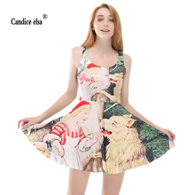 CANDICE ELSA woman dress digital printing wholesale red ridi