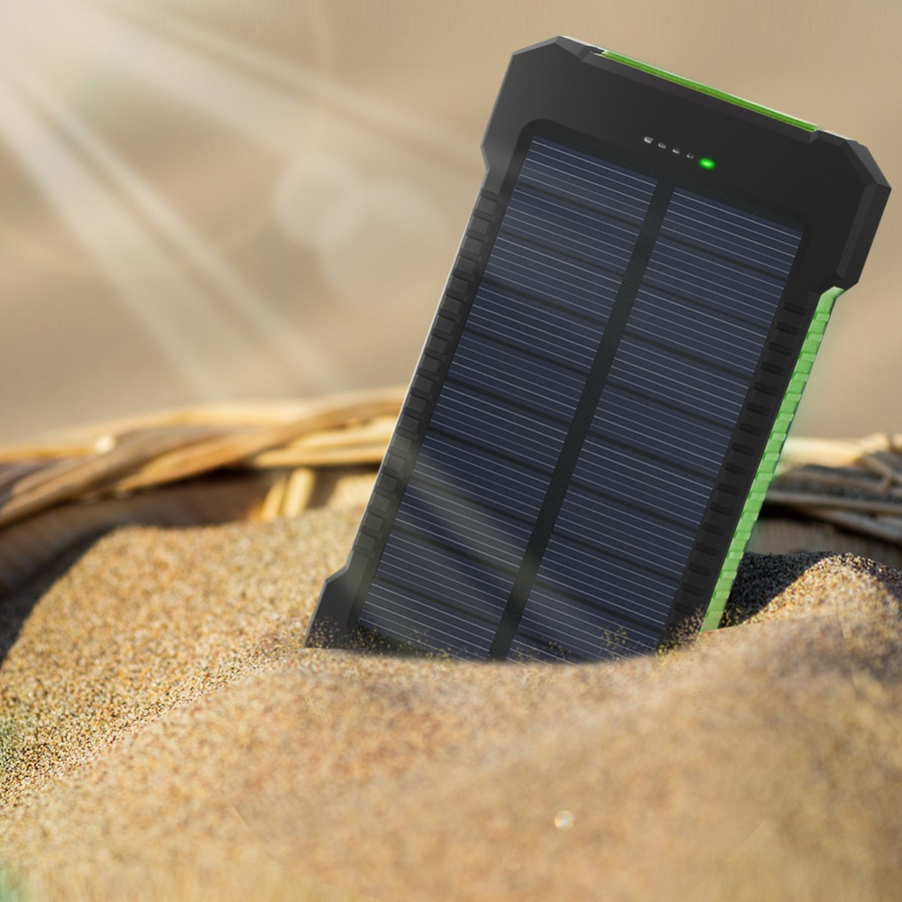 <font><b>Waterproof</b></font> <font><b>10000mAh</b></font> <font><b>Powerbank</b></font> Compass Solar Charger Dual USB Battery Power Bank with LED Light For iPhone Samsung Smartphone image