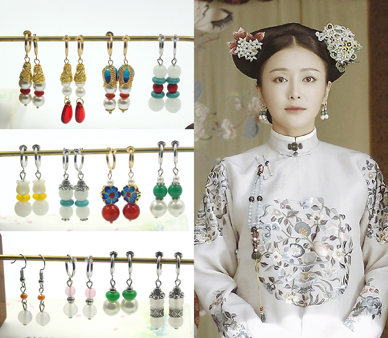 Hot Sale Yanxi TV Same Style Hole Free Eardrop Chinese Ancient Women Earrings Vintage Qing Dynasty Queen Pricess Ear Clip