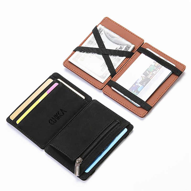 Ultra Mini Fina Carteira Pequena Carteira dos homens de Negócios de Couro PU Magia Carteiras de Alta Qualidade Bolsa Da Moeda Titular do Cartão de Crédito carteiras