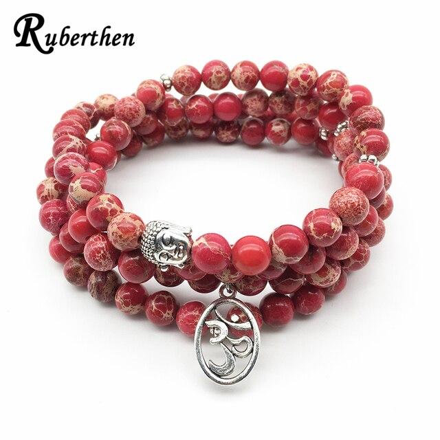Ruberthen Moda Yoga Ohm Braccialetto di Guarigione Spirituale delle Nuove Donne di Disegno Dei Monili Trendy Rosso Naturale Regalite 108 Mala Del Braccialetto