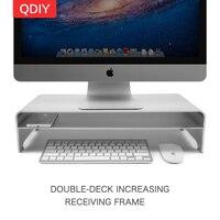 QDIY Desktop Notebook Computer Monitors Bracket Display Holder Keyboard and Mouse Storage Rack Frame