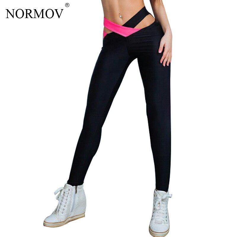 NORMOV Women Sexy Push Up Leggings Fashion Cross Waist Black Workout Legging Women Polyester Bodybuilding Jeggings S-XL 3 Colors