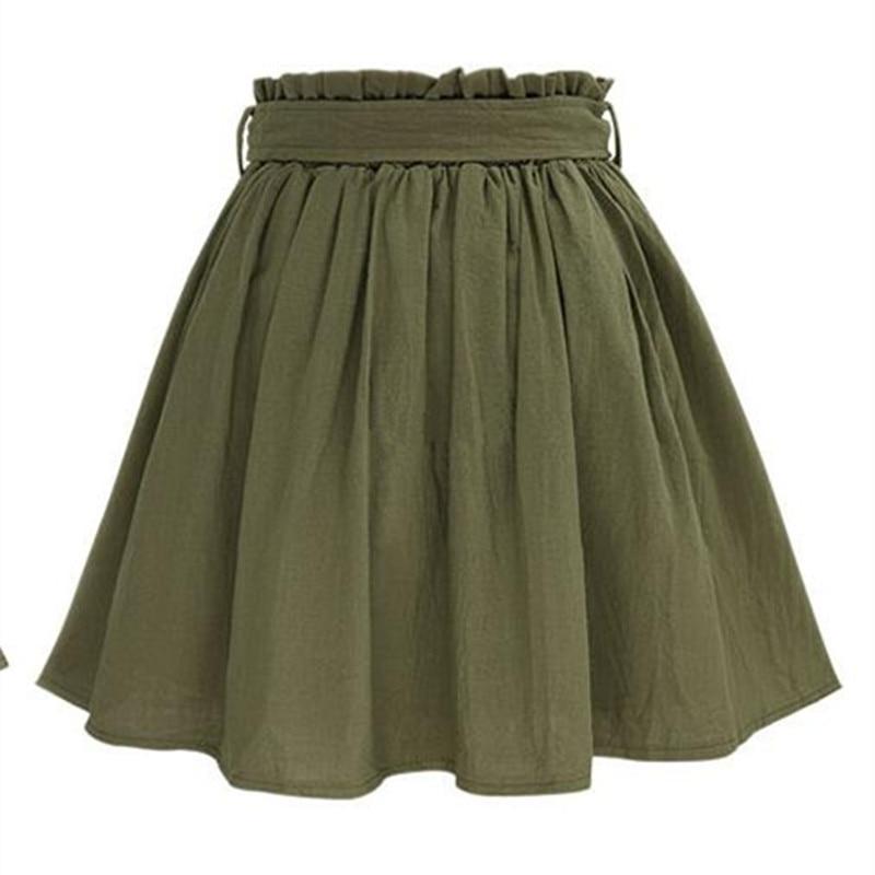 Hzirip wanita rok vintage pinggang tinggi saku padat busur sabuk midi - Pakaian Wanita - Foto 2