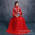 2015 Fashion Red bride wedding Qipao dress quilted retro winter cheongsam long sleeve qipao gown Chinese Traditional Dress