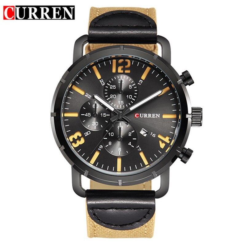 Prix pour Date Marque De Luxe Curren Hommes D'affaires Montres Mode Casual Montres Quartz Horloge Militaire Montres Femmes Montres Hot 8194