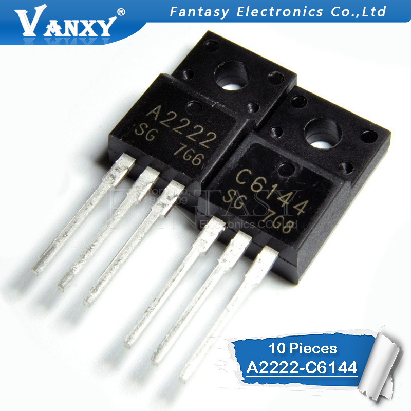 10pcs 2SA2222 2SC6144 TO-220F 5pairs 5pcs A2222 + 5pcs C6144 TO-220