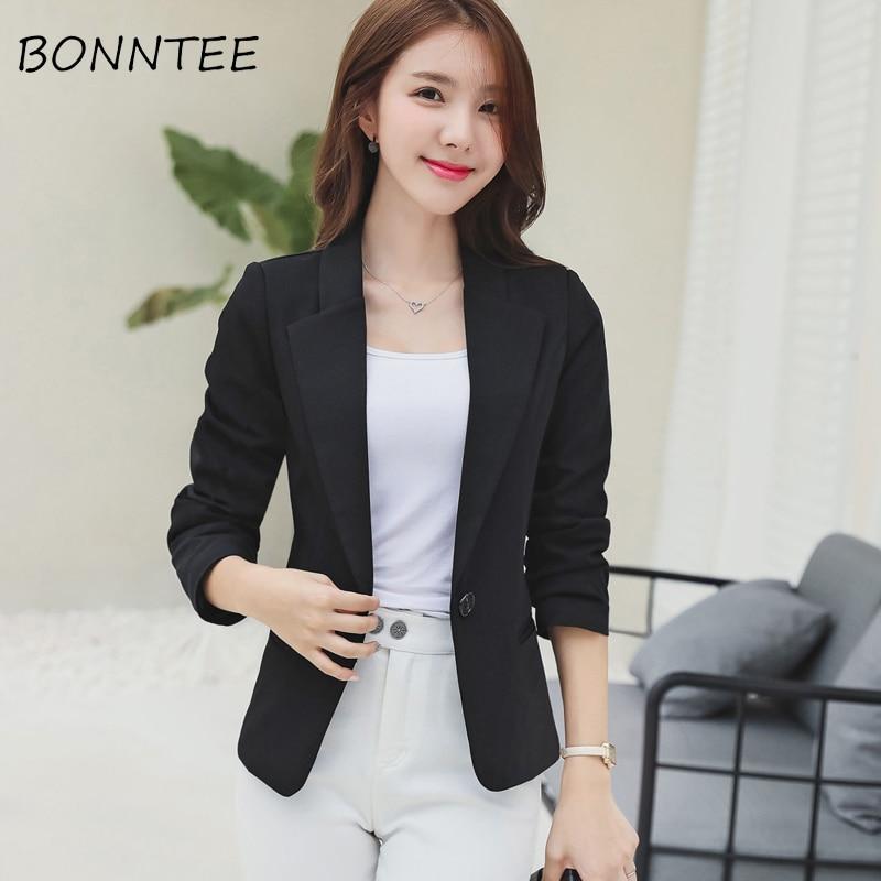 Blazers Women Slim Elegant Solid Simple Office Ladies Korean Style Long Sleeve Single Button Daily Womens Casual Fashion Work
