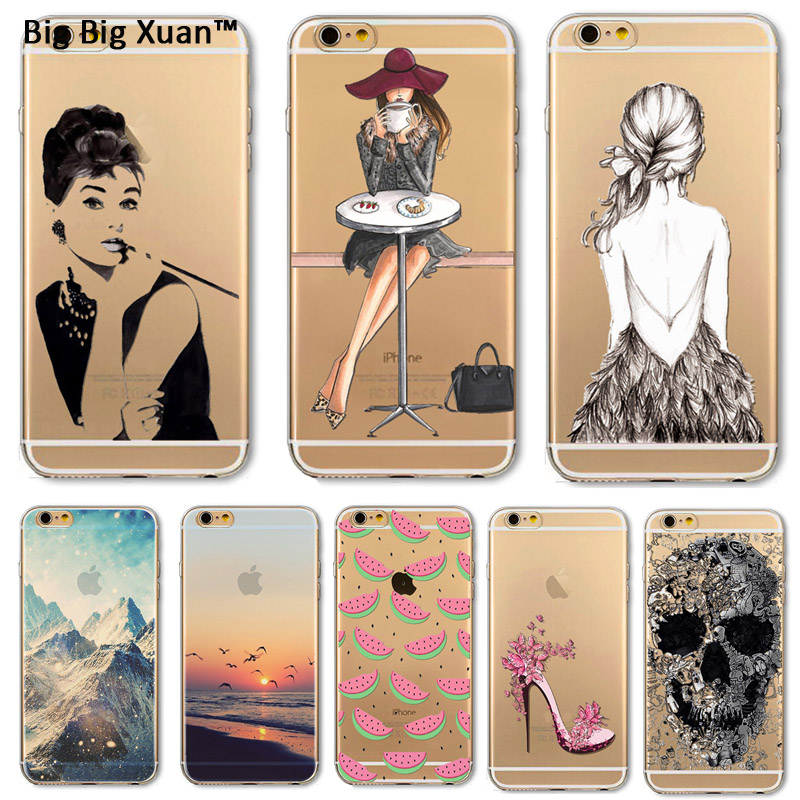 Phone Case Cover For iPhone 4 4s 5 5s 6 6s Plus 6plus Soft TPU Silicon Transparent Scenery Girls Painted Patterns Case Cover Mix
