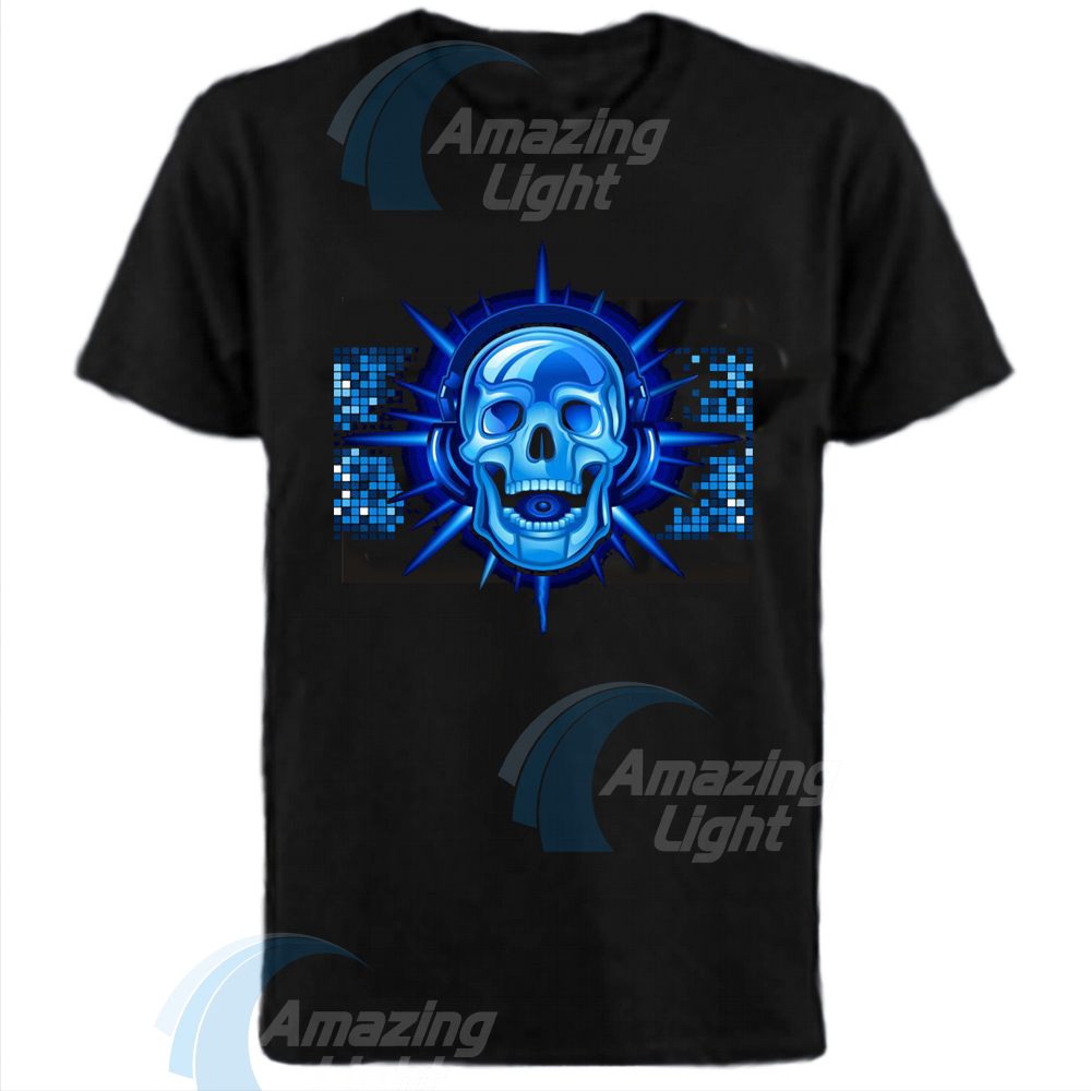 Blue Skull Sound Activated Flashing EL T-Shirt Light Up Down Music Party Equalizer Unisex LED T-Shirt