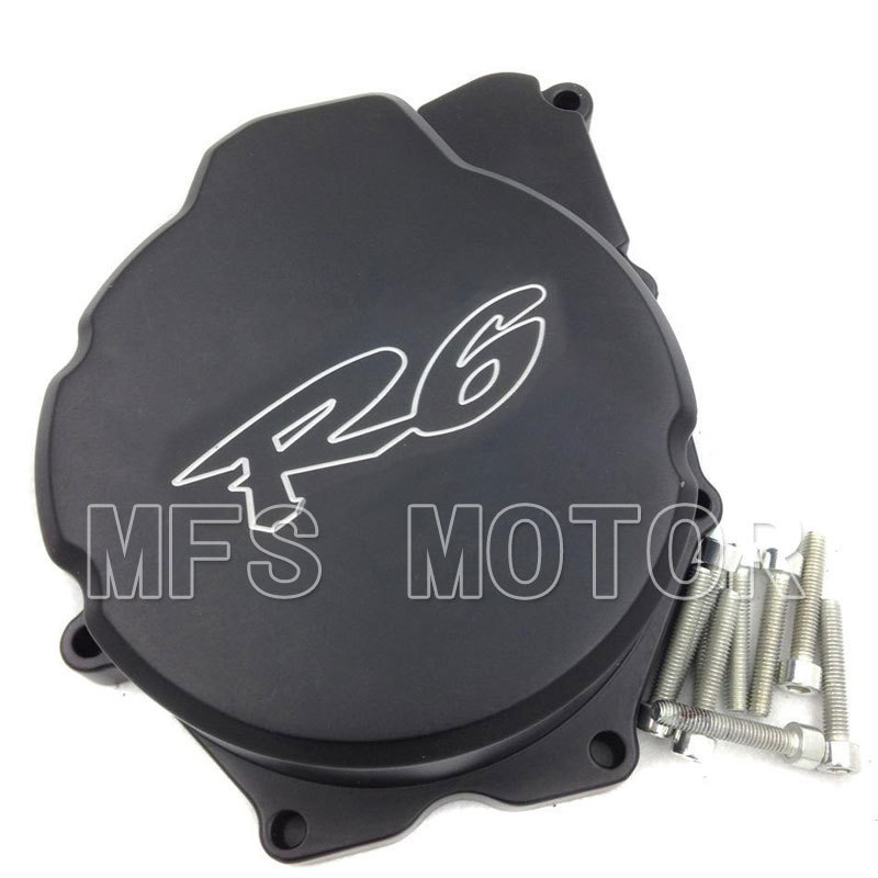 Motorcycle Left side Billet Motor Engine Stator cover For Yamaha YZF-R6 YZF R6 2006 2007 2008 2009 2010 2011 2012 2013 Black aftermarket free shipping motorcycle parts billet engine stator cover for honda cbr600rr f5 2007 2012 chrome left